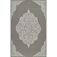 "Momeni Veranda Grey Medallion Indoor/Outdoor Rug - 3'9"" x 5'9"""