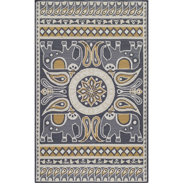 Momeni Veranda Gold Lucky Elephant Indoor Outdoor Rug 5 X27 X 8