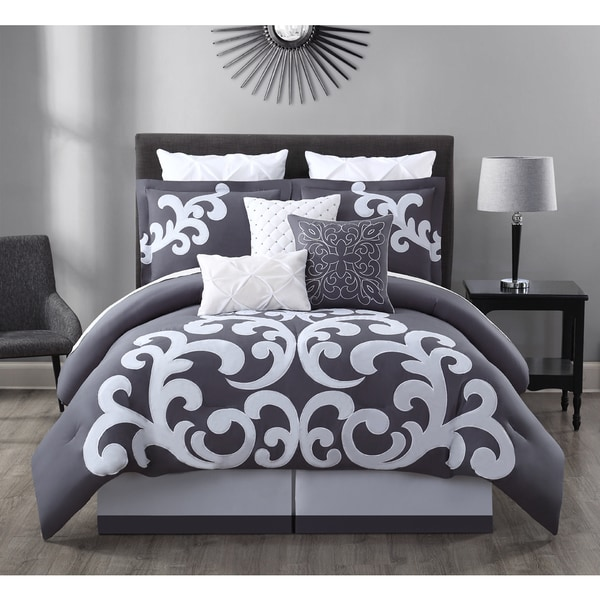 Empress Gray and White Cotton 9-piece Comforter Set