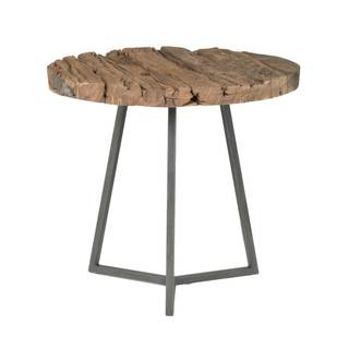 Gray Manor Lennox Distressed/Weathered Reclaimed Wood/Metal Round End Table