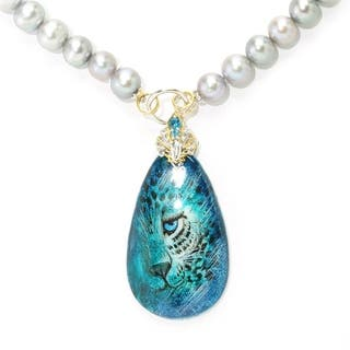 Michael Valitutti Blue Tiger Painted Shell with Grey Pearl Beads and London Blue Topaz Necklace|https://ak1.ostkcdn.com/images/products/11853442/P18754509.jpg?impolicy=medium