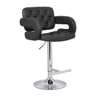 Porch & Den Coal Creek Black Button-tufted Leather Upholstered Modern Adjustable Bar Stool
