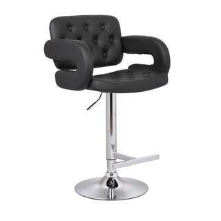 Clay Alder Home Coal Creek Black Button-tufted Leather Upholstered Modern Adjustable Bar Stool