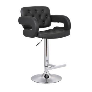 Porch & Den Coal Creek Black Button-tufted Leather Upholstered Modern Adjustable Bar Stool