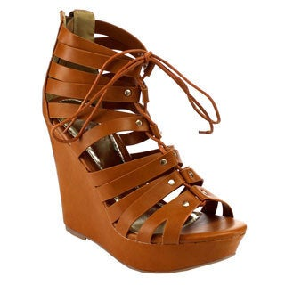 Beston EB45 Women's Tan Faux Leather Studded Adjustable Lace-up Wedges