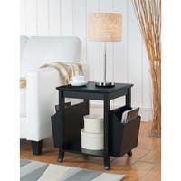 K & B Furniture Black Wood Veneer Accent Table With Magazine Rack
