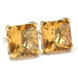 Michael Valitutti Russian Princess Cut Citrine Stud Earrings