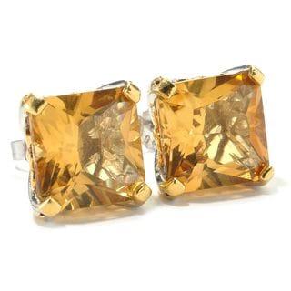 Michael Valitutti Russian Princess Cut Citrine Stud Earrings