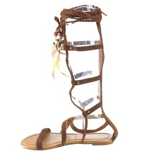 Beston Women's DC20 Brown Faux Leather Padded Footbed Sandals