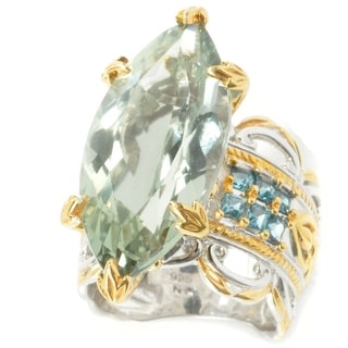 Michael Valitutti Marquise Green Amethyst and Princess Cut London Blue Topaz Ring