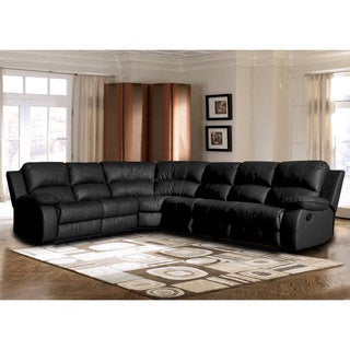 Classic Oversize and Overstuffed Corner Bonded Leather Sectional with 2 Reclining Seats  sc 1 st  Overstock.com : leather couch with recliners - islam-shia.org