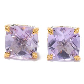 Michael Valitutti Cushion Check Top Pink Amethyst Stud Earrings