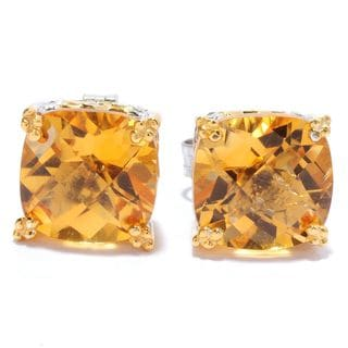 Michael Valitutti Cushion Check Top Citrine Stud Earrings