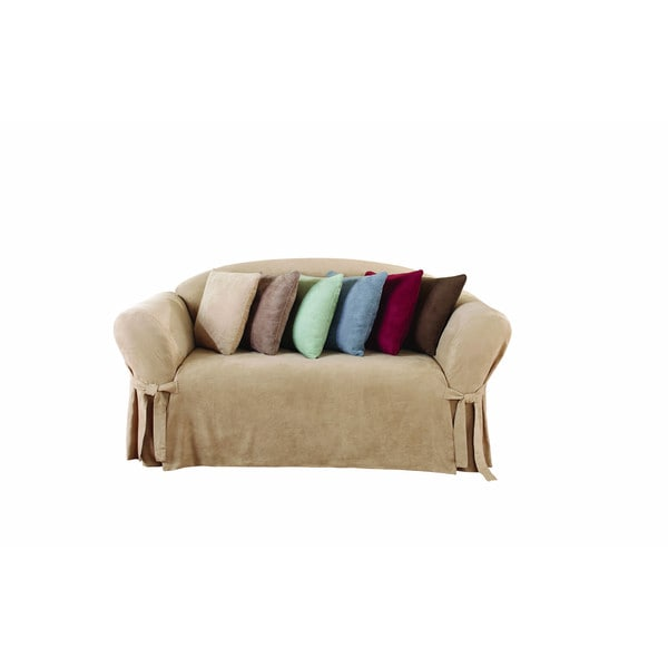 Sure Fit Soft Suede 3 2 One Piece Loveseat Slipcover Free Shipping On Orders Over 45
