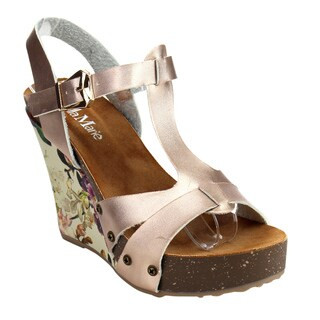 Bella Marie Women's HOLA-11 Printed T-Strap Wedges