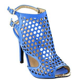 Marilyn Moda LUMINA Women's Faux Leather Cage Ankle-wrapped Heels