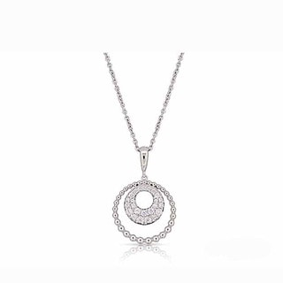 Kabella Sterling Silver Cubic Zirconia Round Beaded Edge Pendant