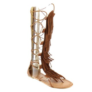 Beston Women's DB66 Faux-leather Fringe Knee-high Gladiator Sandals