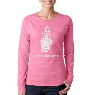 Los Angelos Pop Art Women's 'Blue Lives Matter' Cotton/Polyester Long-sleeved T-shirt