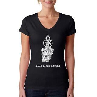 LA Pop Art Women's Black Cotton Blues Lives Matter V-neck T-shirt
