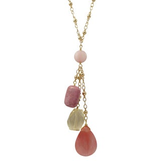 Luxiro Gold Finish Pink Semi-precious Gemstone Tassel Necklace