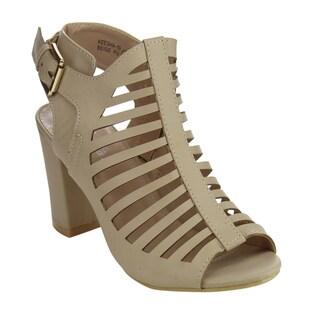 Bella Marie Keesha-10 Women's Caged Chunky Heels