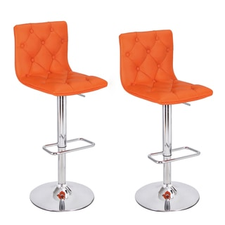 Orange Chrome 360-degree Swivel Adjustable Hydraulic Lift Bar Stool (Set of 2)