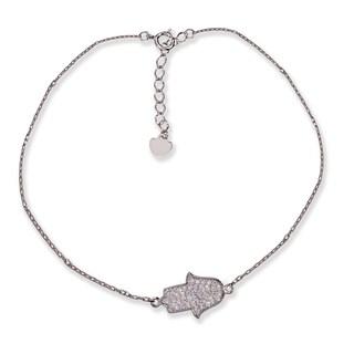 Pori 14k White Gold Hamasa Cubic Zirconia Charm Bracelet