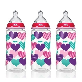 NUK 10-ounce Medium Flow Hearts Bottle With Perfect Fit Nipple (Pack of 3)