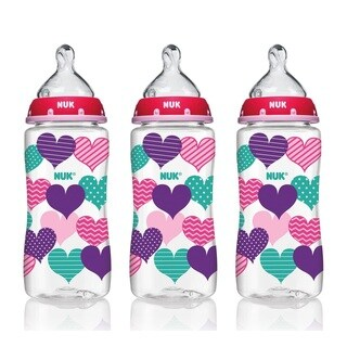 NUK 10-ounce Medium Flow Hearts Bottle With Perfect Fit Nipple (Pack of 3) - Purple/Pink/Clear