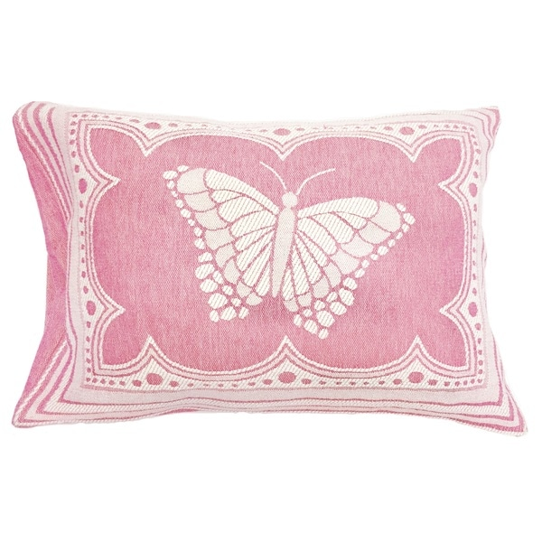 Clorinde Pink and White Butterfly Design Sham
