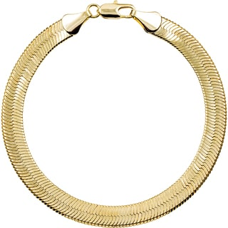 Simon Frank 10mm 14k Gold/ Silver Overlay Herringbone Bracelet