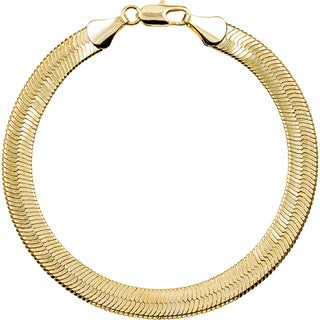Simon Frank 10mm 14k Gold/ Silver Overlay Herringbone Bracelet (2 options available)