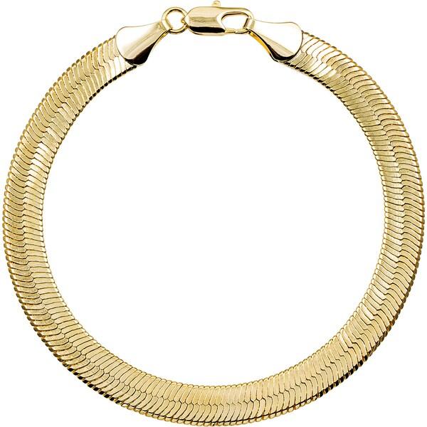 Simon Frank 10mm 14k Gold Silver Overlay Herringbone Bracelet