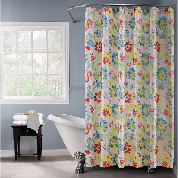 Lurex Floral Polyester Fabric Shower Curtain