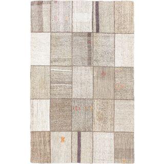 eCarpetGallery Moldovia Handmade Mod Patch Beige/Gray Cotton Kilim (4'10 x 7'8)