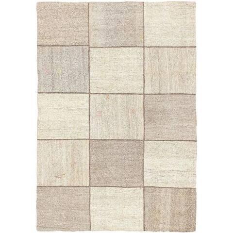 Flat-weave Moldovia Mod Patch Cream, Grey Cotton Kilim