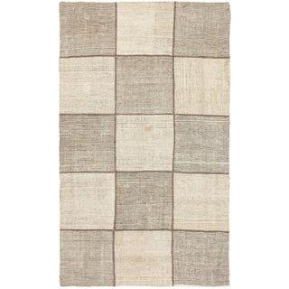 eCarpetGallery Moldovia Handmade Mod Patch Beige/Gray Cotton Kilim (4'0 x 6'7)