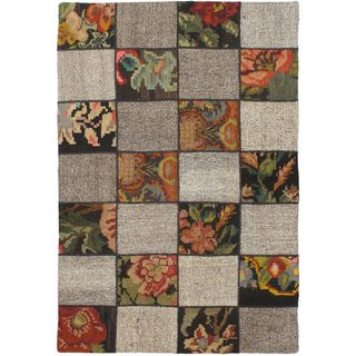 eCarpetGallery Moldovia Duo Patch Beige/Black Wool Kilim Handmade (3' 9 x 5' 9)
