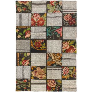 eCarpetGallery Moldovia Hand-made Duo Patch Beige/Brown Wool Kilim (5'8 x 3'8)