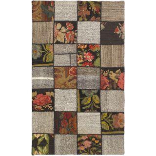 eCarpetGallery Moldovia Kilim Duo Patch Beige/Brown Wool Handmade Rug (5'5 x 3'3)