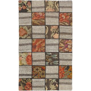 eCarpetGallery Moldovia Duo Patch Beige/Brown Wool Hand-made Kilim (3'3 x 5'5)