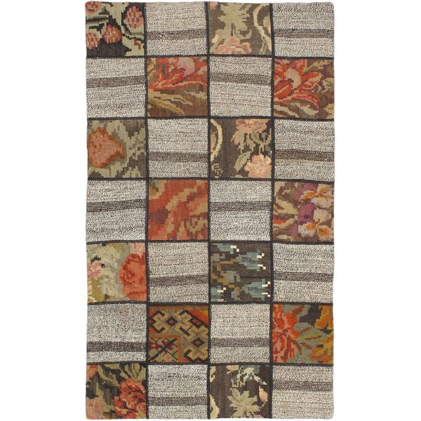 eCarpetGallery Moldovia Duo Patch Beige/Brown Wool Handmade Kilim (3'3 x 5'5)