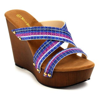 Beston Women's Multicolored Strappy Wedge Sandals