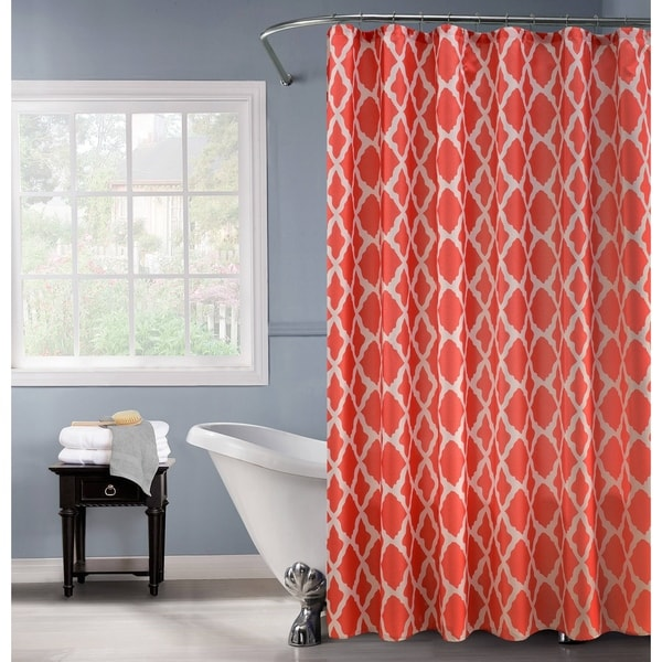 Lurex Orange-and-white Polyester Shower Curtain