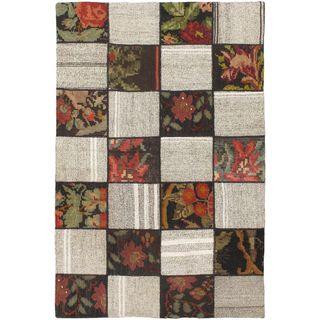 eCarpetGallery Moldovia Handmade Duo Patch Beige/Brown Wool kilim (4'0 x 6'2)