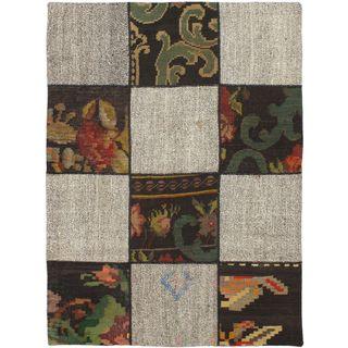 ecarpetgalley Handmade Beige/Brown Wool Kilim (3'6 x 4'9)
