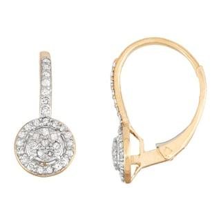 Gioelli 10k Yellow Gold 1/3ct TDW Diamond Circle Leverback Earrings (I-J, I1-I2)