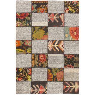 eCarpetGallery Moldovia Handmade Duo Patch Beige/Brown Wool Kilim (4'1 x 6'1)