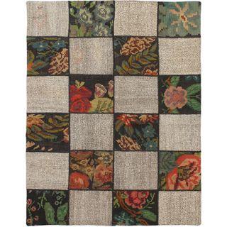 eCarpetGallery Moldovia Duo Patch Kilim Beige/Brown Handmade Rug (4'2 x 5'3)